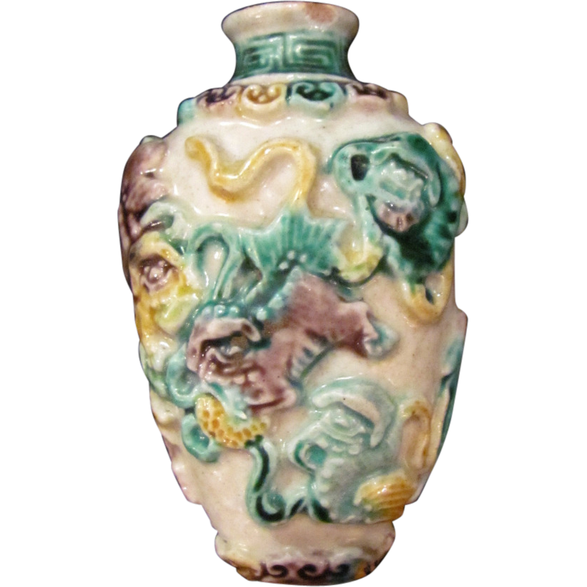 Antique Chinese Three Color Porcelain Snuff Bottle Ching Dynasty