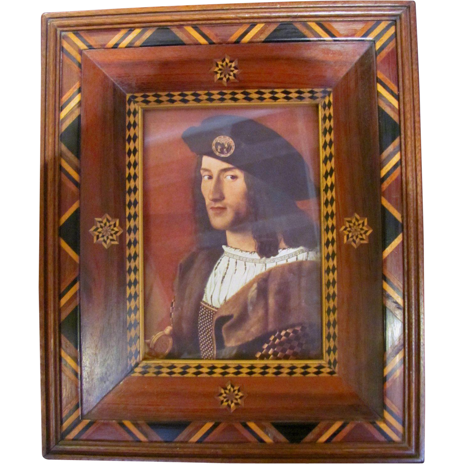 Antique American Folk Art  Picture Frame Inlaid Walnut Circa 1870