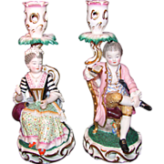 Pair Antique English Derby Style Porcelain Candlesticks 19th Century