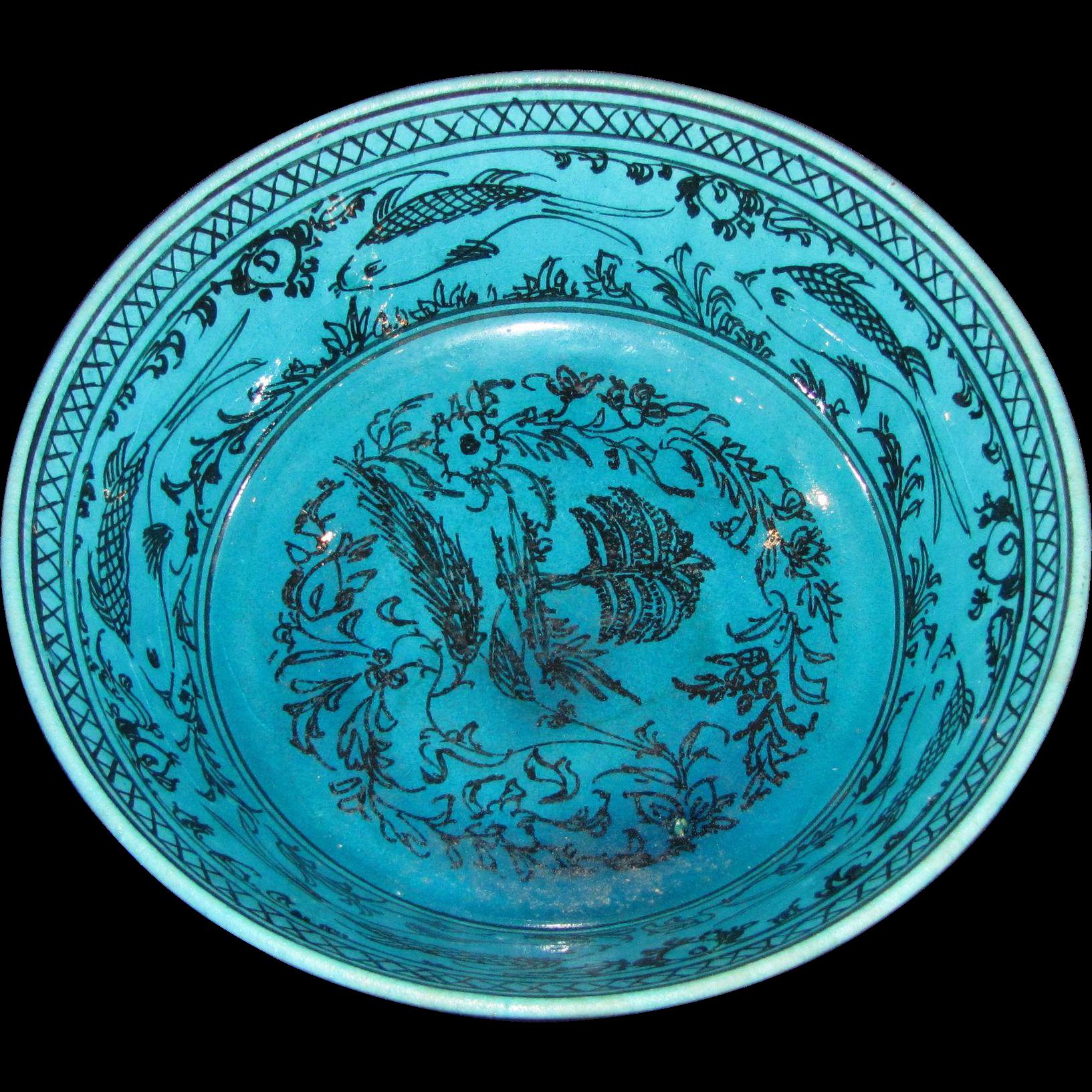 Antique Persian Porcelain Bowl 19th Century