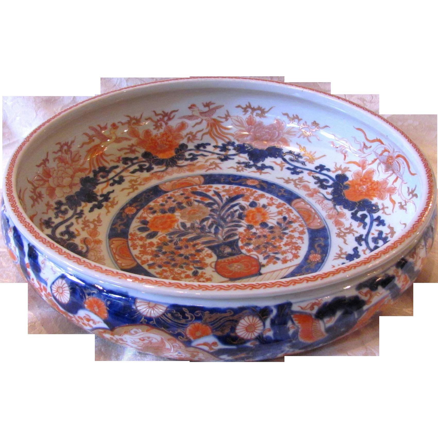Large Antique Japanese Imari Bowl Late Edo Period Circa 1850