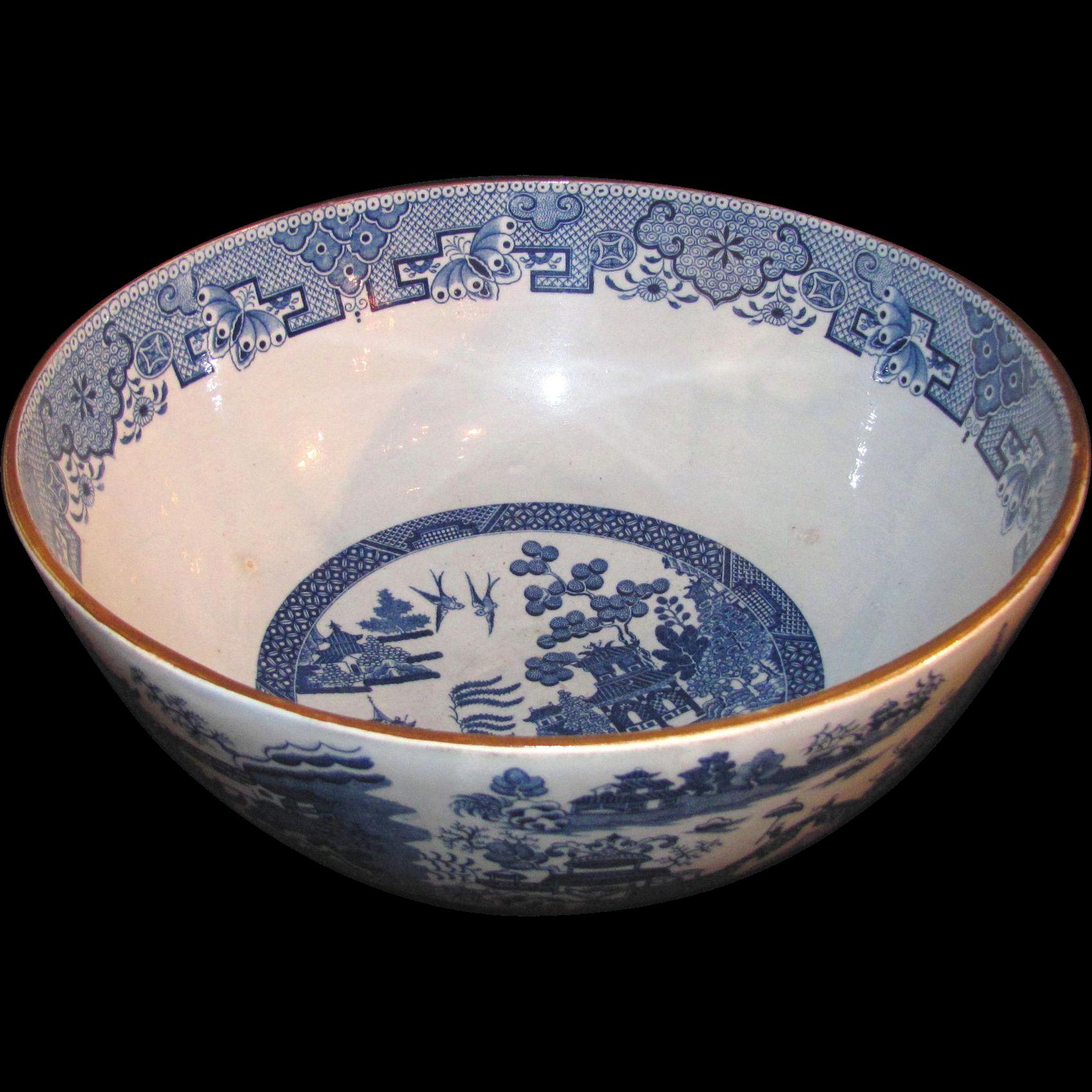 Early Antique English Staffordshire Transferware Serving Bowl Circa 1800