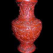 Antique Chinese Cinnabar Vase Circa 1900