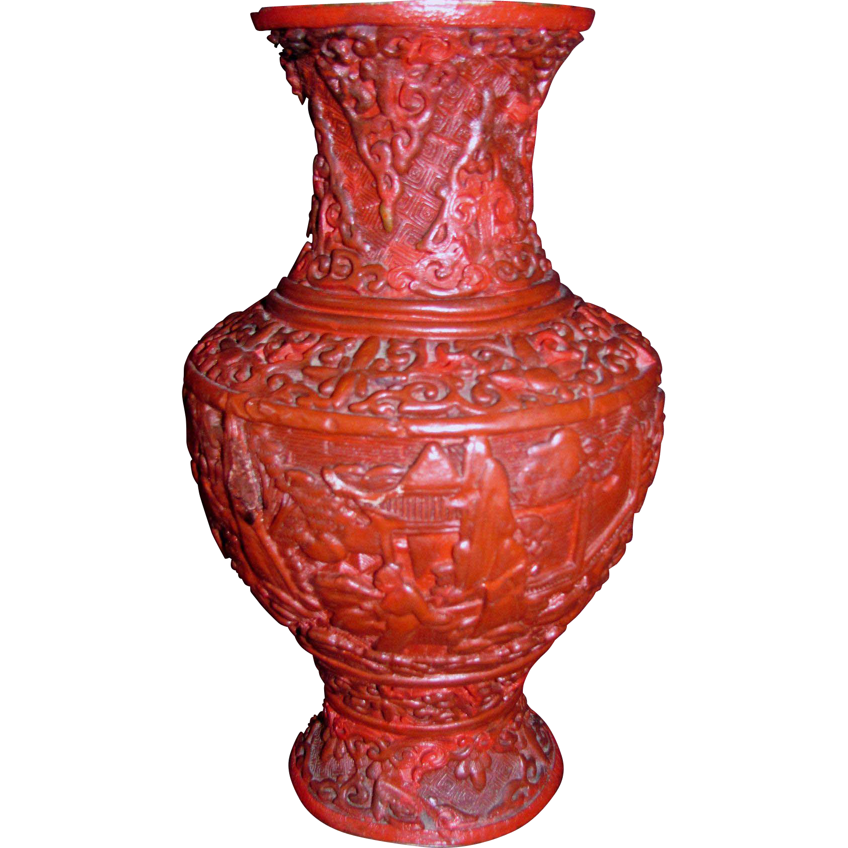 Antique Chinese Cinnabar Vase Circa 1900