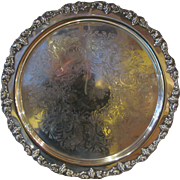 Large Round Silverplate Serving Tray Circa 1920