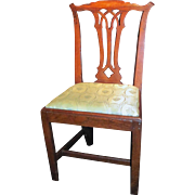 Antique English Georgian Oak Chippendale Side Chair Circa 1770