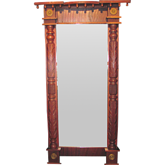 Antique American Mahogany Federal Pier Mirror Circa 1825