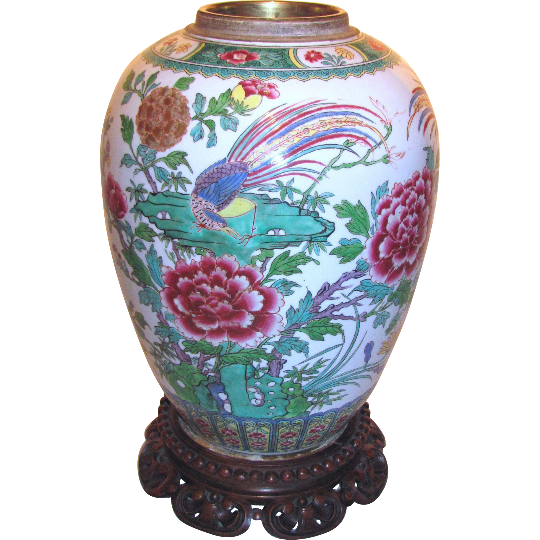 Large Antique Chinese Famille Rose Vase 19th Century