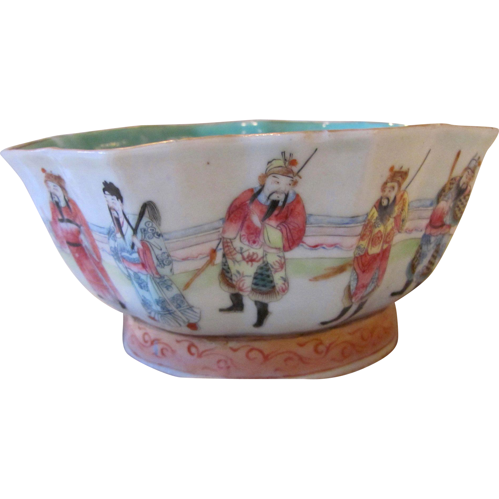 Antique Chinese Hand Painted Porcelain Bowl Seal Mark 19th Century