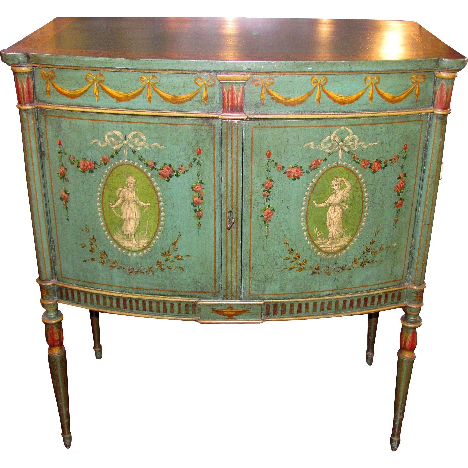 Antique Edwardian Painted Side Cabinet Circa 1910
