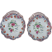 Pair Antique Spode Hand Painted Porcelain Serving Dishes 19th Century