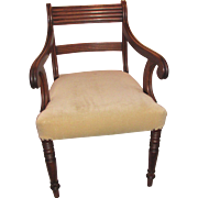 Antique English Regency Mahogany Armchair Circa 1815
