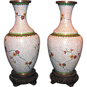 Pair Antique Chinese Cloisonne Vases Circa 1900