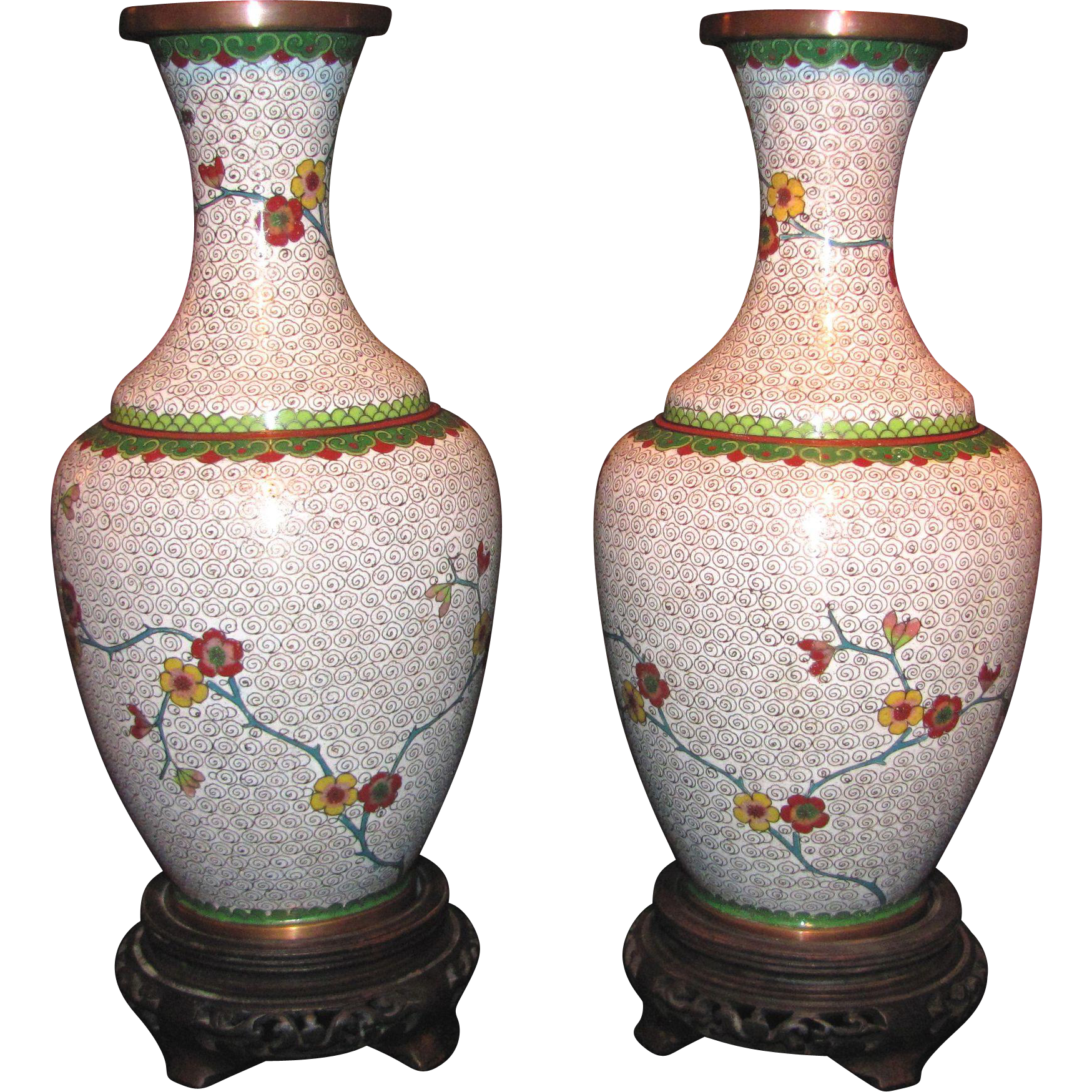 Pair Antique Chinese Cloisonne Vases Circa 1900