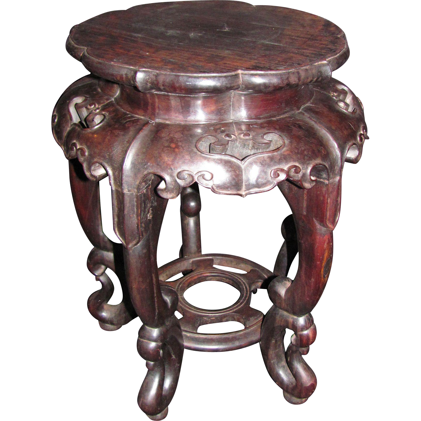 Antique Chinese Carved Hardwood Stand Late 19th Century