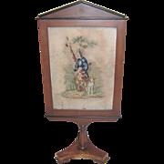 Antique Biedermeir Framed Needlepoint Fireplace Screen Circa 1820