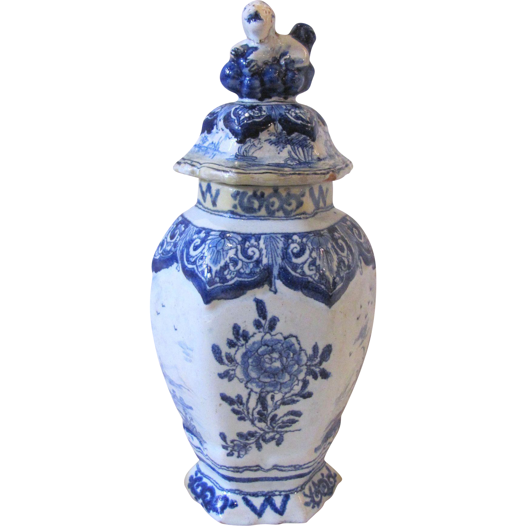 Antique Dutch Delft Miniature Covered Urn 18th Century