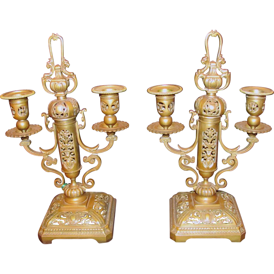 Pair Antique Gilt Bronze Candleabra Circa 1820 European