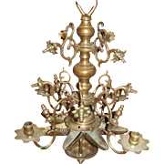 Antique Dutch Rose Brass Chandelier 17th Century