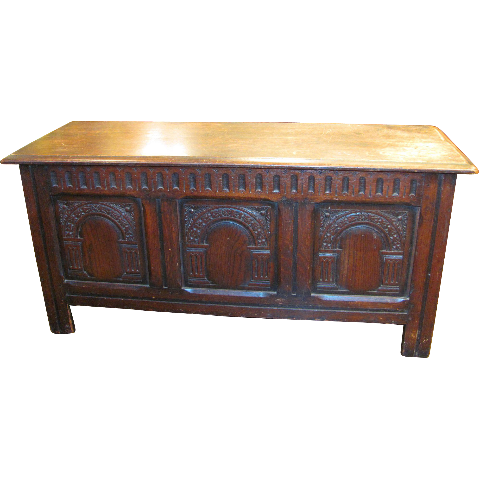 Antique English Oak Jacobean Style Coffer Circa 1880