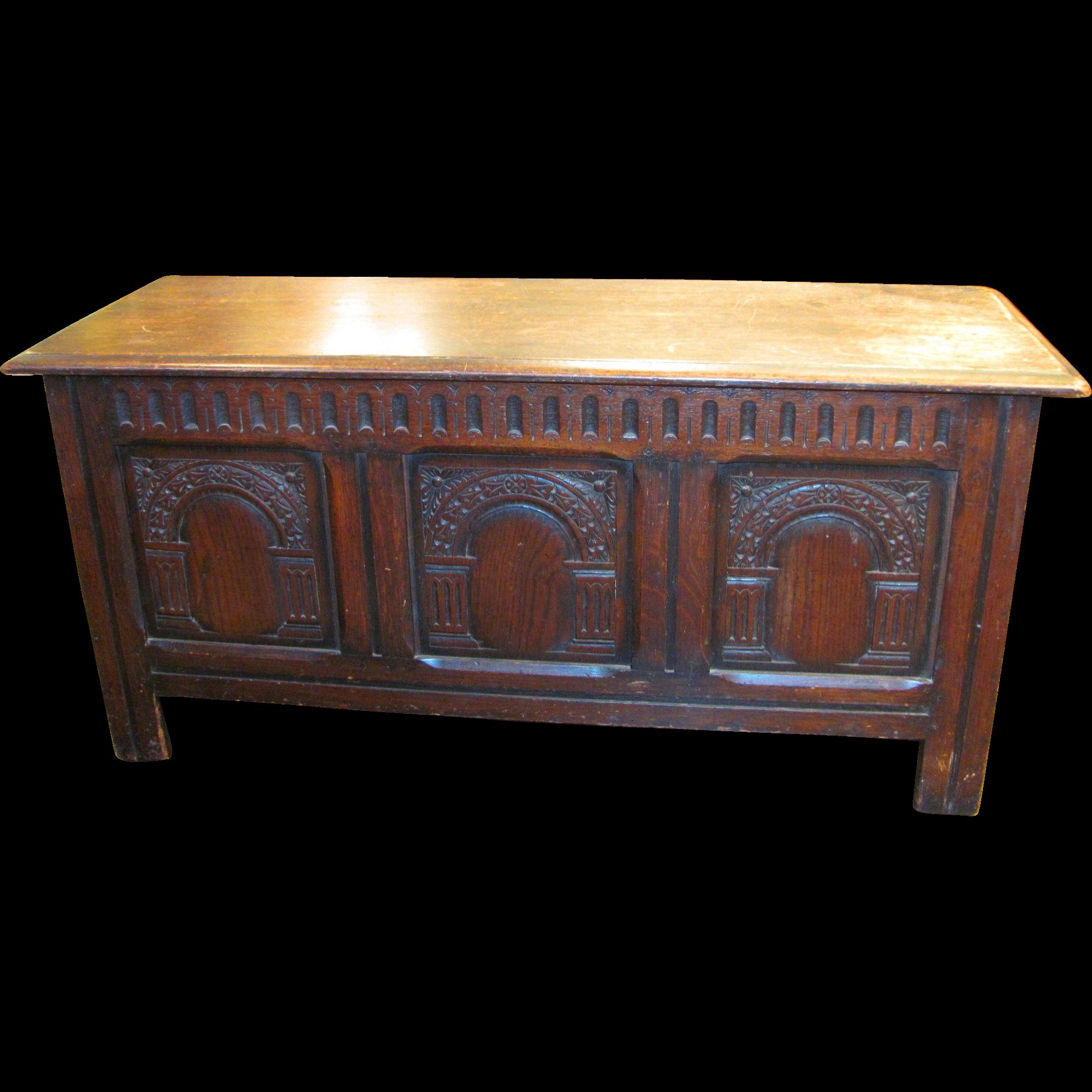 Antique English Oak Jacobean Style Coffer Circa 1880