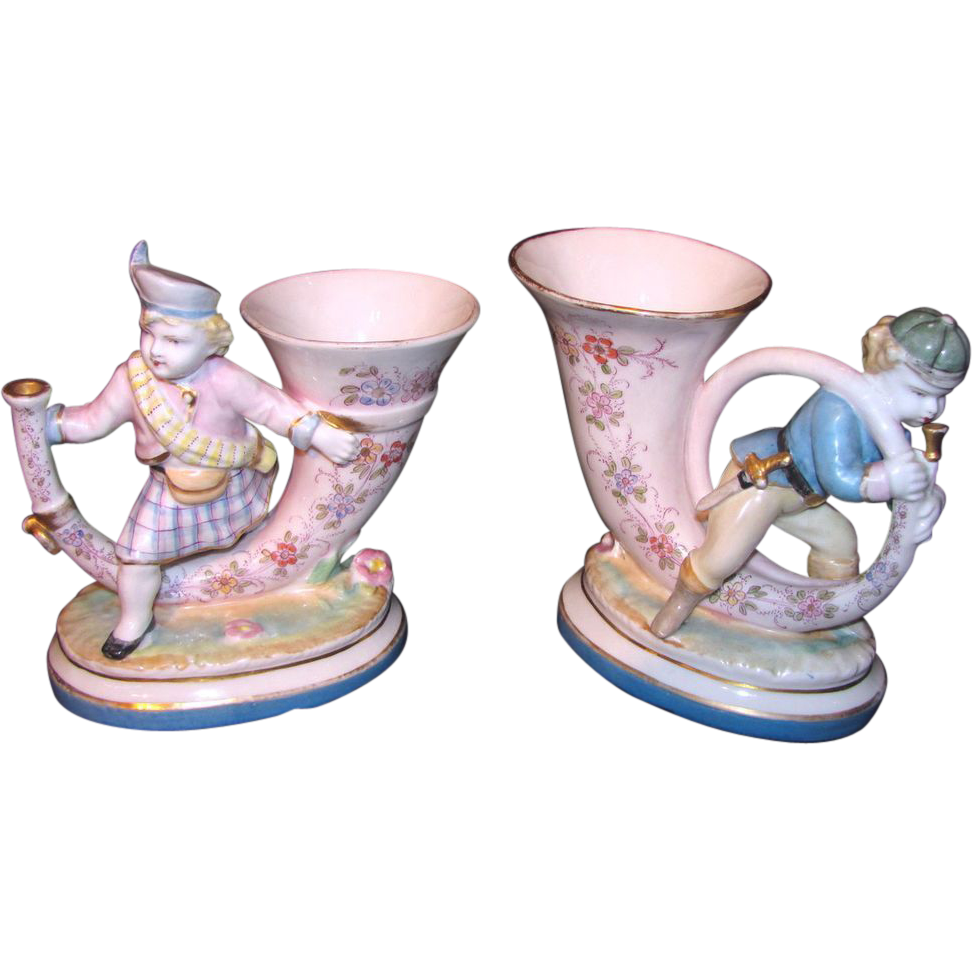 Pair Antique French Hand Painted Porcelain Vases 19th Century