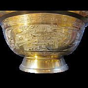 Antique Chinese Decorative Brass Bowl Republic Period
