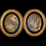 Pair Antique Lithographs in Period Frames Circa 1850