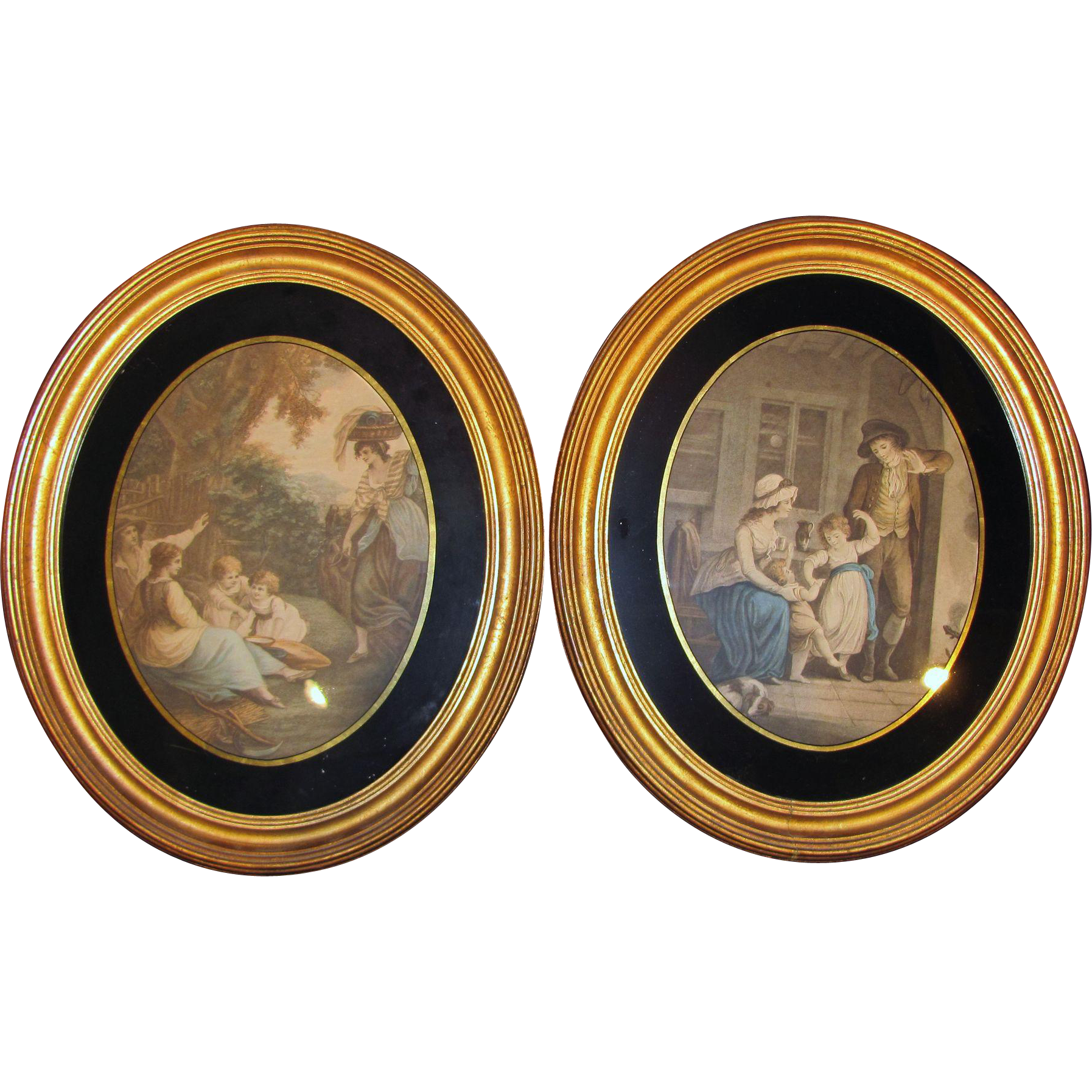 Pair Antique Lithographs in Period Frames Circa 1850