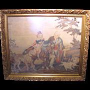 Large Antique Scottish Needlepoint Picture Framed 19th Century