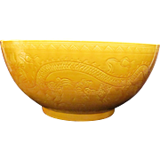 Vintage Chinese Yellow Bowl 20th Century