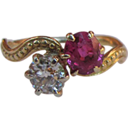 Antique Victorian 14k Diamond Ruby Ring Circa 1890