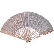 Antique Victorian Point De Gaze Lace Fan MOP Circa 1890