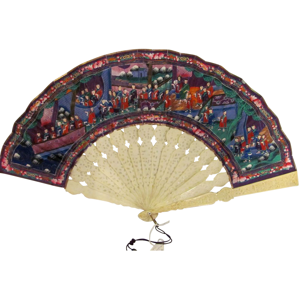 Antique Chinese Applied Faces Fan Carved Sticks Circa 1850