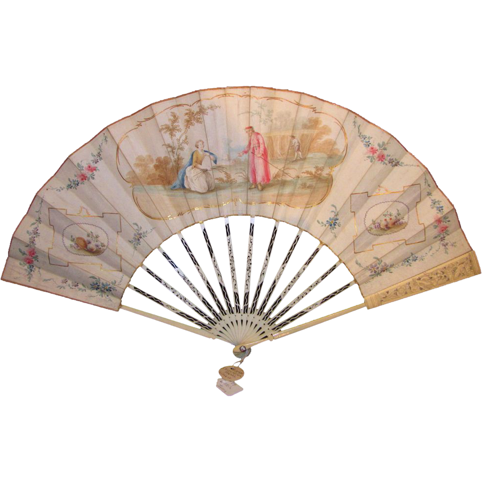 Antique Hand Painted Biblical Fan Circa 1780