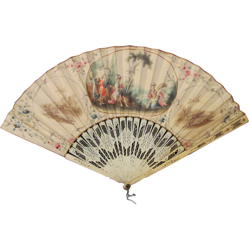 Antique Dutch Hand Painted Fan Circa 1770