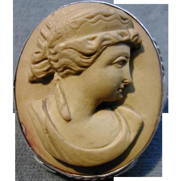 Victorian Classic Roman Lava Cameo Silver Frame Brooch