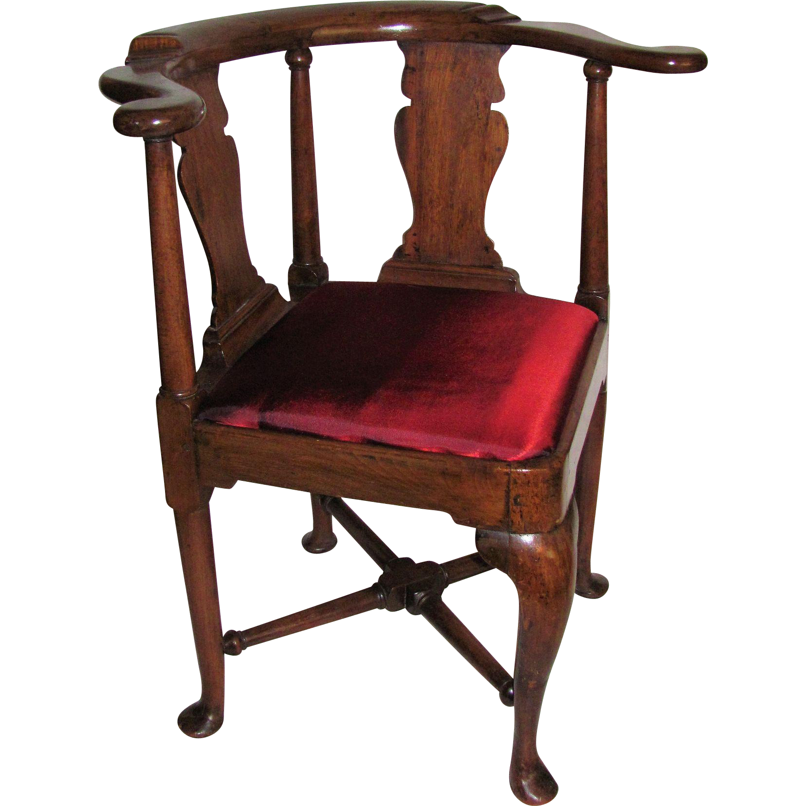 Antique English or American Queen Anne Walnut Corner Chair Circa
