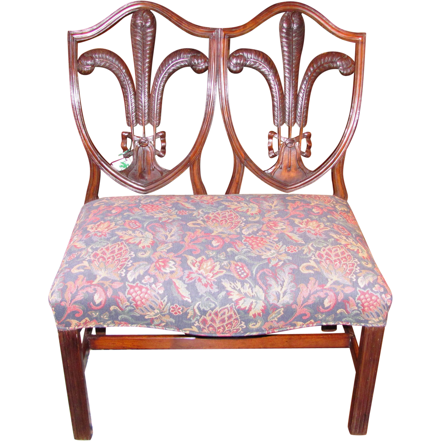 English Georgian Mahogany Double Chair Back Settee Circa 1780