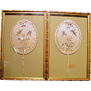 Pair Early 19th Century Chinese Embroidered Fans (Handscreens) With Gold Thread