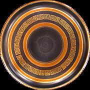 Pre War German Ceramic Charger Black with Greek Key Gilt Banding