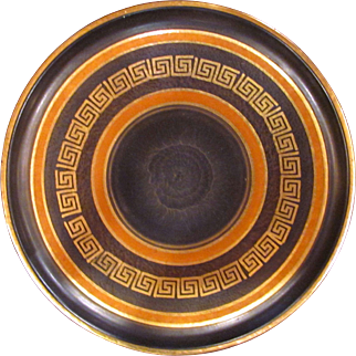 Pre War German Ceramic Charger Black with Greek Key Gilt Banding
