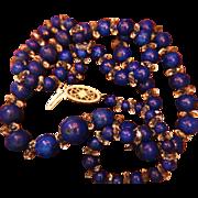 14K Lapis Crystal Rondelle Necklace Graduated Art Deco