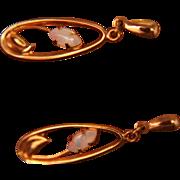14K Opal Earrings Studs Pierced Posts Dangle Drops