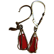 18K Coral Earrings Dangle Drop Caged Red Oxblood