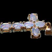 14K Opal Cross Pendant Crystal Purples Blues Natural Genuine