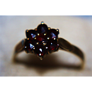 900 Garnet Ring Cluster Rose Cut