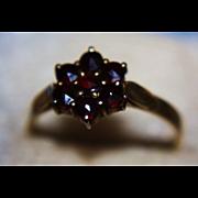 900 Garnet Ring Cluster Rose Cut