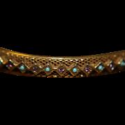Bangle Bracelet Amethyst Turquoise Beads Gold Washed