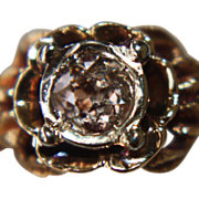 14k Pink Diamond Ring Nouveau Antique Euro Cut Roma